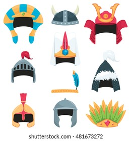 vector set of a various warrior helmets