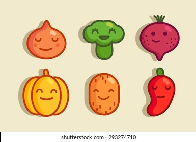 vector set of vegetables. a linear style funny characters