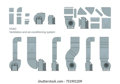 Vector set of ventilation elements.
