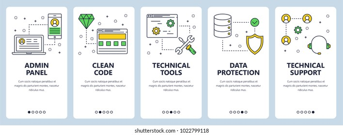 Vector set of vertical banners with Admin panel, Clean code, Technical tools, Data protection, Technical support concept web elements. Modern thin line flat style design.
