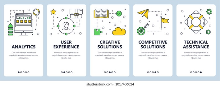 Vector set of vertical banners with Analytics, User experience, Creative solutions, Competitive solutions, Technical assistance website templates. Modern thin line flat style design.