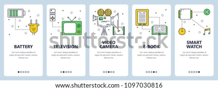 Vector Set Vertical Banners Battery Television Stock Vector