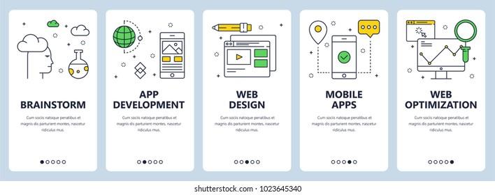 Vector set of vertical banners with Brainstorm, App development, Web design, Mobile apps, Web optimization website templates. Modern thin line flat style design.