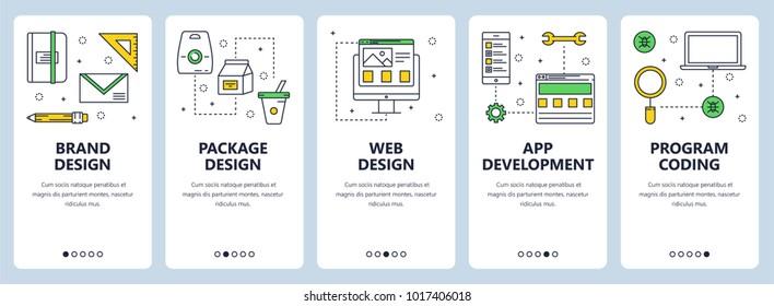 Vector set of vertical banners with Brand design, Package design, Web design, App development, Program coding concept website templates. Modern thin line flat style design.