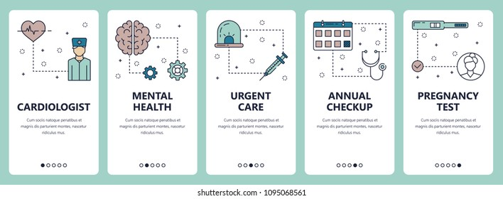 Vector set of vertical banners with Cardiologist, Mental health, Urgent care, Annual check up, Pregnancy test website and mobile app templates. Modern thin line flat style design.