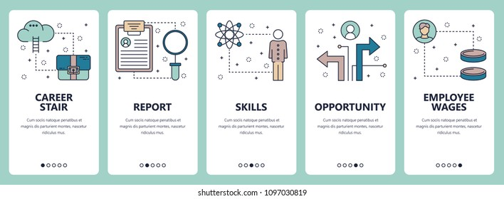 Vector set of vertical banners with Career stair, Report, Skills, Opportunity, Employee wages website and mobile app templates. Modern thin line flat style design.