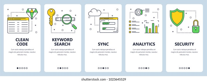 Vector set of vertical banners with Clean code, Keyword search, Sync, Analytics, Security website templates. Modern thin line flat style design.