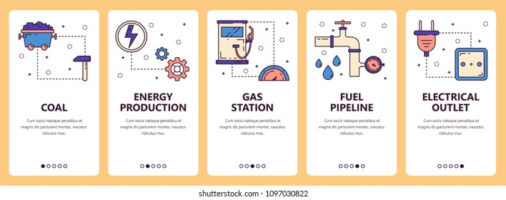 Vector set of vertical banners with Coal, Energy production, Gas station, Fuel pipeline, Electrical outlet website and mobile app templates. Modern thin line flat style design.