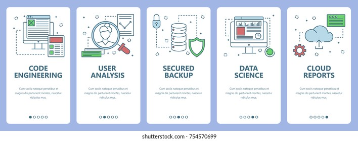 Vector set of vertical banners with Code engineering, User analysis, Secured backup, Data science, Cloud report concept web elements. Modern thin line flat symbols, icons for website menu, print.