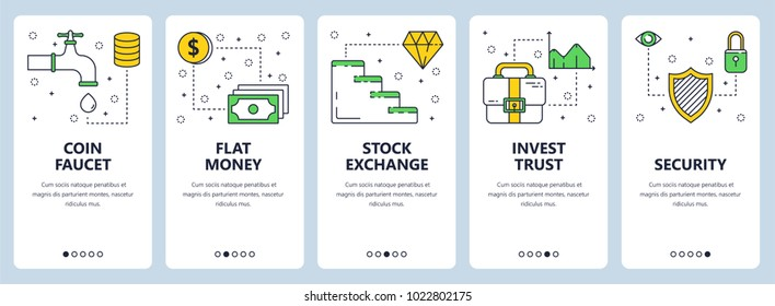 Vector set of vertical banners with Coin faucet, Flat money, Stock exchange, Invest trust, Security concept website templates. Modern thin line flat style design.