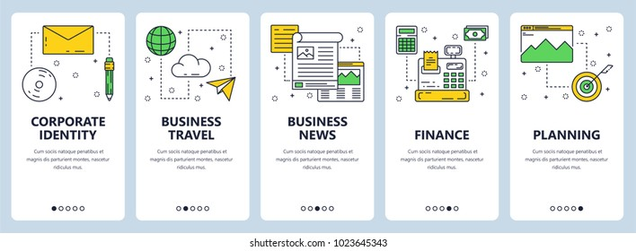 Vector set of vertical banners with Corporate identity, Business travel, Business news, Finance, Planning website templates. Modern thin line flat style design.