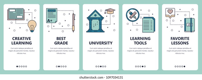Vector set of vertical banners with Creative learning, Best grade, University, Learning tools, Favorite lessons website and mobile app templates. Modern thin line flat style design.