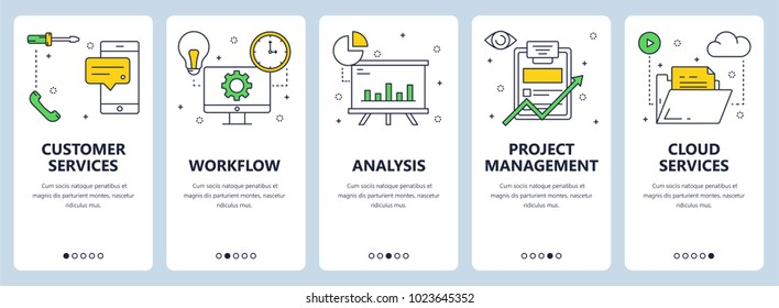 Vector set of vertical banners with Customer services, Workflow, Analysis, Project management, Cloud services website templates. Modern thin line flat style design.