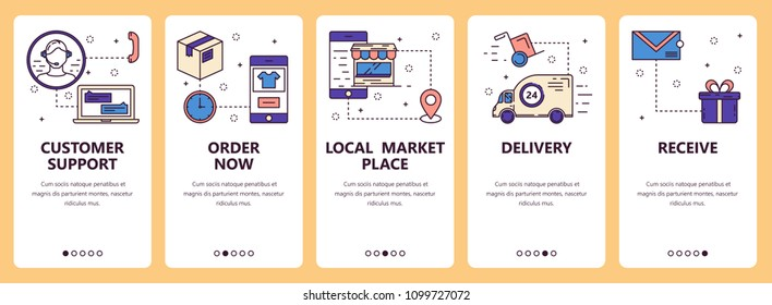 Vector set of vertical banners with Customer support, Order now, Local marketplace, Delivery, Receive website and mobile app templates. Modern thin line flat style design.