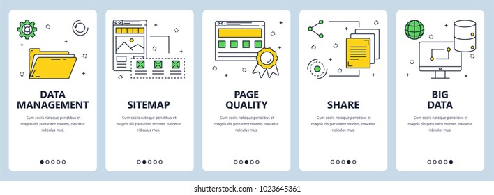 Vector set of vertical banners with Data management, Sitemap, Page quality, Share, Big data website templates. Modern thin line flat style design.