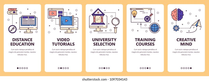 Vector set of vertical banners with Distance education, Video tutorials, University selections, Training courses, Creative mind website and mobile app templates. Modern thin line flat style design.