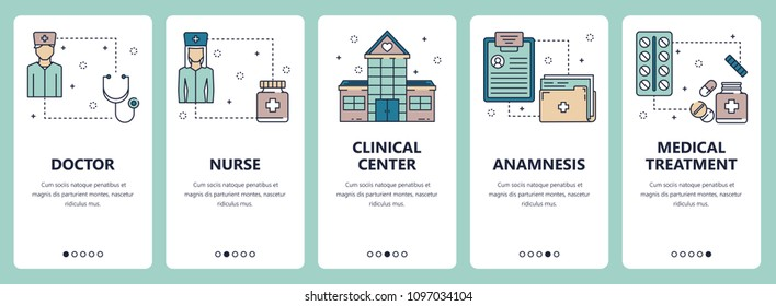 Vector set of vertical banners with Doctor, Nurse, Clinical center, Anamnesis, Medical treatment website and mobile app templates. Modern thin line flat style design.