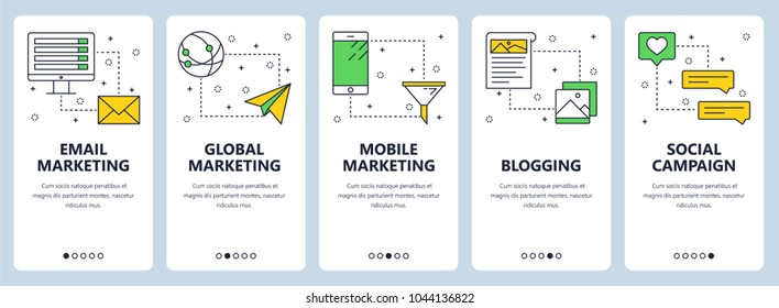 Vector set of vertical banners with email marketing, Global marketing, Mobile marketing, Blogging, Social campaign website templates. Modern thin line flat style design.