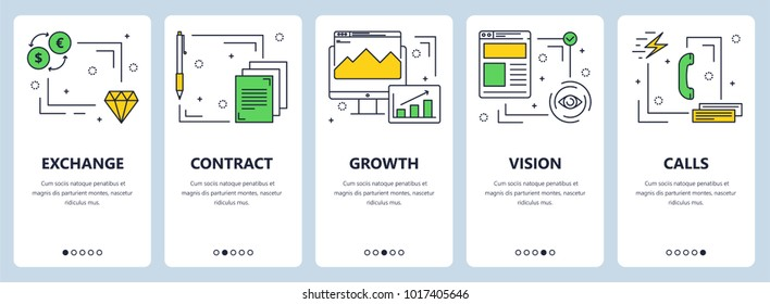 Vector set of vertical banners with Exchange, Contract, Growth, Vision, Calls concept website templates. Modern thin line flat style design elements for web, print.