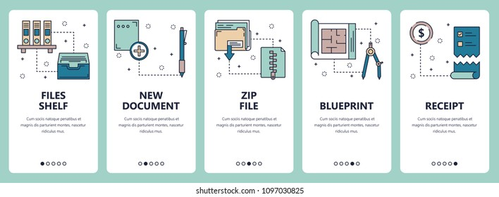 Vector set of vertical banners with Files shelf, New document, Zip file, Blueprint, Receipt website and mobile app templates. Modern thin line flat style design.