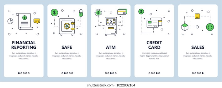 Vector set of vertical banners with Financial reporting, Safe, ATM, Credit card, Sales website templates. Modern thin line flat style design.