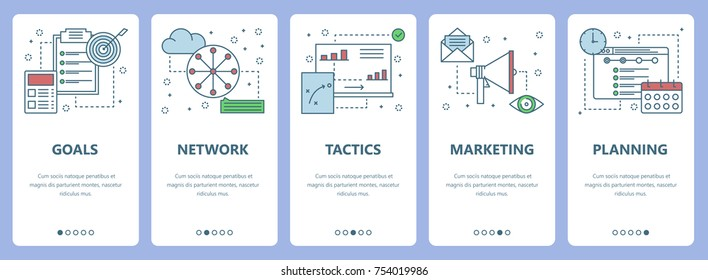 Vector set of vertical banners with Goals, Network, Tactics, Marketing, Planning concept web elements. Modern thin line flat symbols, icons for website menu, print.