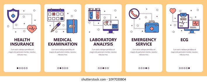 Vector set of vertical banners with Health insurance, Medical examination, Laboratory analysis, Emergency service, ECG website and mobile app templates. Modern thin line flat style design.