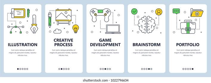 Vector set of vertical banners with Illustration, Creative process, Game development, Brainstorm, Portfolio website templates. Modern thin line flat style design.