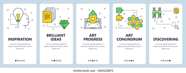 Vector set of vertical banners with Inspiration, Brilliant ideas, Art progress, Art conundrum, Discovering website templates. Modern thin line flat style design.