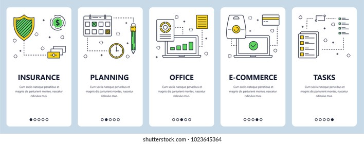 Vector set of vertical banners with Insurance, Planning, Office, E-commerce, Tasks website templates. Modern thin line flat style design.