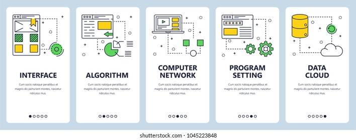 Vector set of vertical banners with Interface, Algorithm, Computer network, Program setting, Data cloud website templates. Modern thin line flat style design.