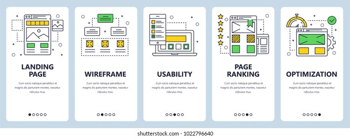 Vector set of vertical banners with Landing page, Wireframe, Usability, Page ranking, Optimization website templates. Modern thin line flat style design.