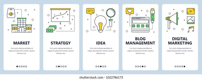 Vector set of vertical banners with Market, Strategy, Idea, Blog management, Digital marketing website templates. Modern thin line flat style design.