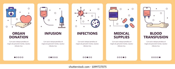 Vector set of vertical banners with Organ donation, Infusion, Infections, Medical supplies, Blood transfusion website and mobile app templates. Modern thin line flat style design.
