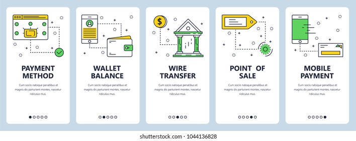 Vector set of vertical banners with Payment method, Wallet balance, Wire transfer, Point of sale, Mobile payment website templates. Modern thin line flat style design.