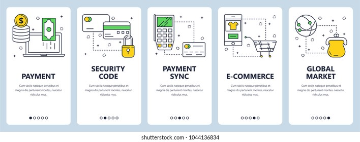 Vector set of vertical banners with Payment, Security code, Payment sync, e-commerce, Global market website templates. Modern thin line flat style design.