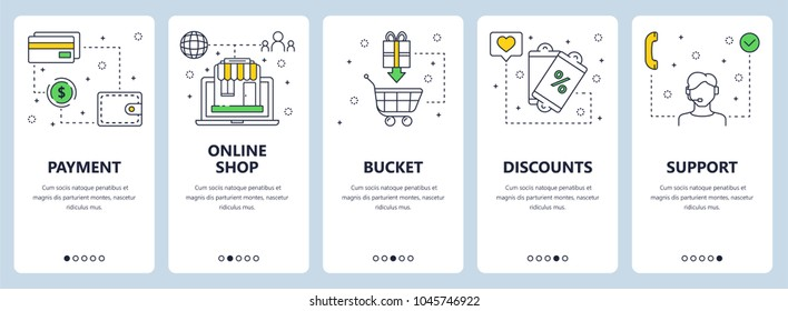Vector set of vertical banners with Payment, Online shop, Bucket, Discounts, Support website templates. Modern thin line flat style design.