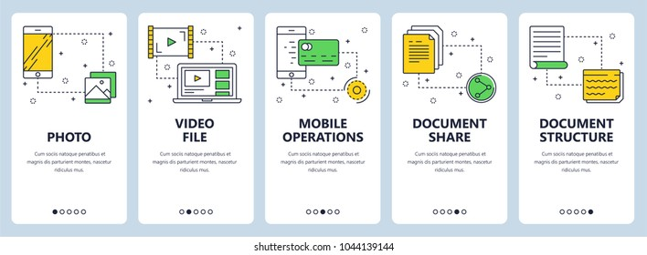 Vector set of vertical banners with Photo, Video file, Mobile operations, Document share, Document structure website templates. Modern thin line flat style design.