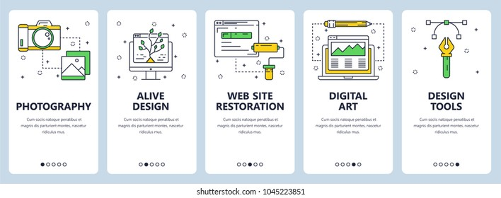 Vector set of vertical banners with Photography, Alive design, Web site restoration, Digital art, Design tools website templates. Modern thin line flat style design.