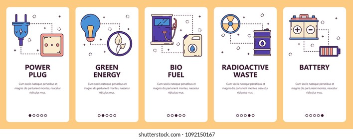 Vector set of vertical banners with Power plug, Green energy, Bio fuel, Radioactive waste, Battery website and mobile app templates. Modern thin line flat style design.