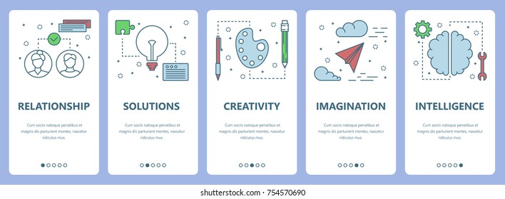 Vector set of vertical banners with Relationship, Solutions, Creativity, Imagination, Intelligence concept web elements. Modern thin line flat symbols, icons for website menu, print.