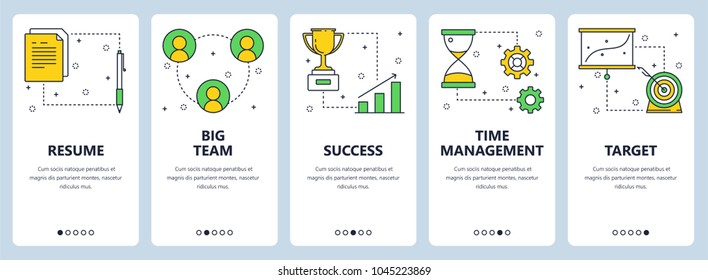 Vector set of vertical banners with Resume, Big team, Success, Time management, Target website templates. Modern thin line flat style design.