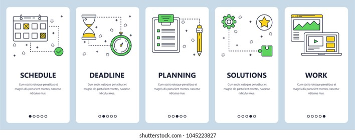 Vector set of vertical banners with Schedule, Deadline, Planning, Solutions, Work website templates. Modern thin line flat style design.