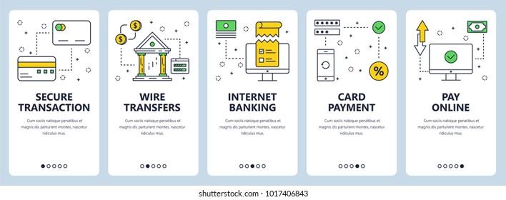 Vector set of vertical banners with Secure transaction, Wire transfers, Internet banking, Card payment, Pay online website templates. Modern thin line flat style design.