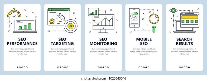 Vector set of vertical banners with SEO performance, SEO targeting, SEO monitoring, Mobile SEO and Search results website templates. Modern thin line flat style design.