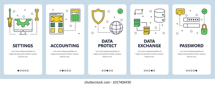 Vector set of vertical banners with Settings, Accounting, Data protect, Data exchange, Password website templates. Modern thin line flat style design.