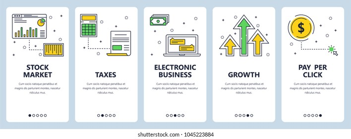 Vector set of vertical banners with Stock market, Taxes, Electronic business, Growth, Pay per click website templates. Modern thin line flat style design.