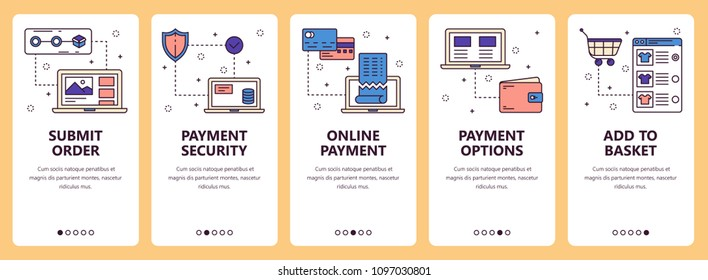 Vector set of vertical banners with Submit order, Payment security, Online payment, Payment options, Add to basket website and mobile app templates. Modern thin line flat style design.