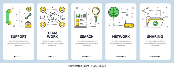 Vector set of vertical banners with Support, Team work, Search, Network, Sharing website templates. Modern thin line flat style design.
