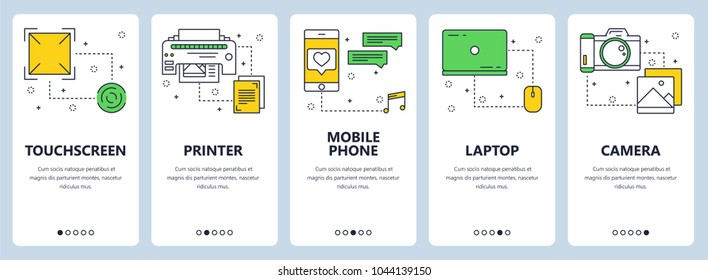 Vector set of vertical banners with Touchscreen, Printer, Mobile phone, Laptop, Camera website templates. Modern thin line flat style design.